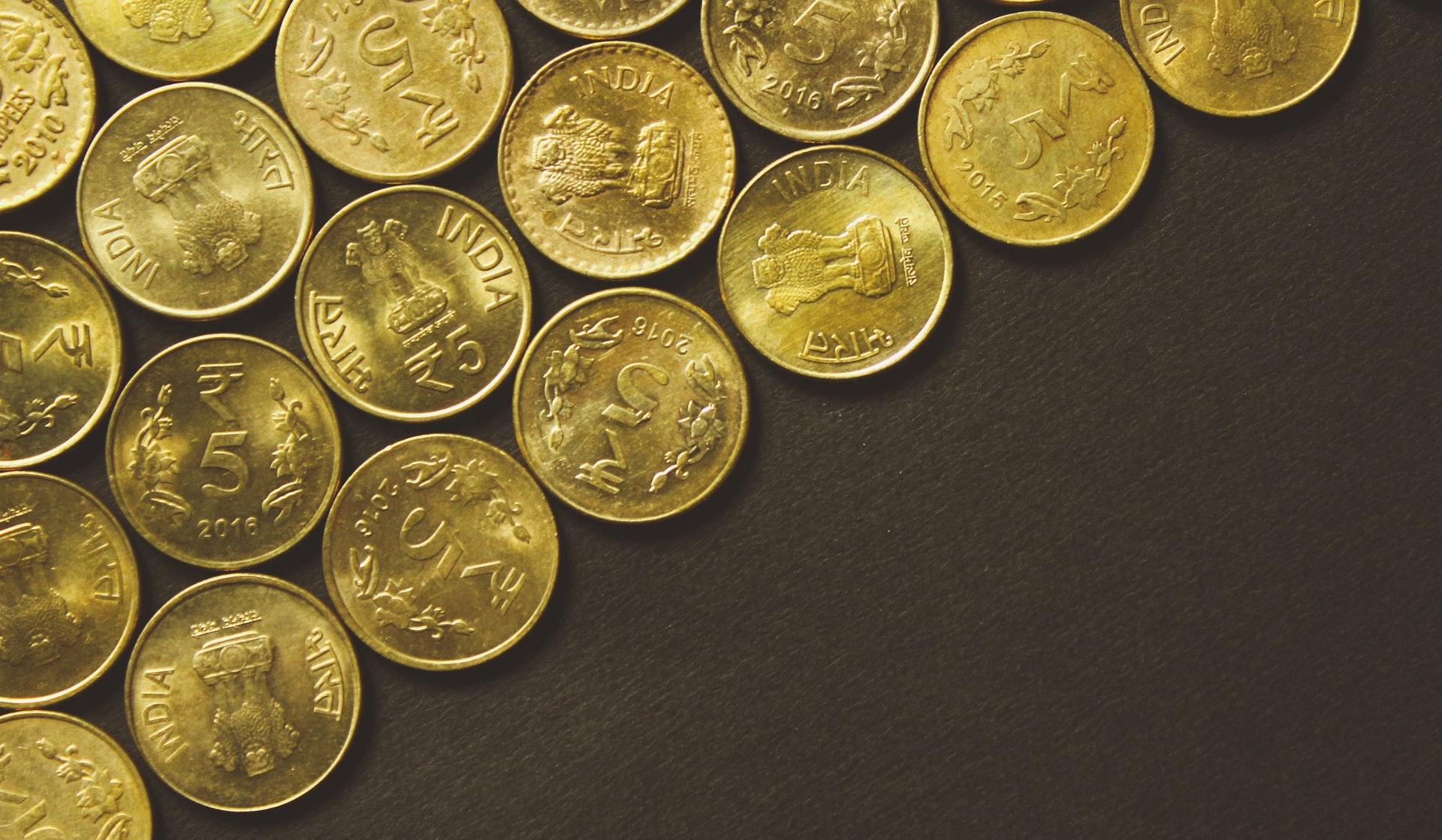 round gold-colored coins